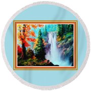Deep Jungle Waterfall Scene L B With Decorative  Ornate Printed Frame. Round Beach Towel