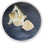 Deep Ocean Seashells Round Beach Towel