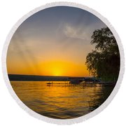 Deep Orange Sunset Over Keuka Lake Round Beach Towel