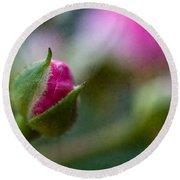 Deep Pink Rose Bud - Rose Bud Round Beach Towel