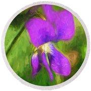 Deep Purple - Wildflower Art Round Beach Towel