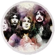 Deep Purple.rock Stars Round Beach Towel