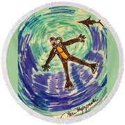 Deep Sea Diving  Round Beach Towel