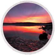Deep Sunset At Morecambe Round Beach Towel