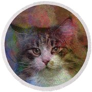 Deep Thoughts - Square Version Round Beach Towel