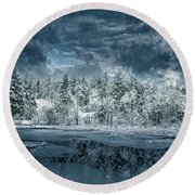 Deep Winter Round Beach Towel