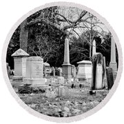 Deep Within Evergreen Cemetery Round Beach Towel