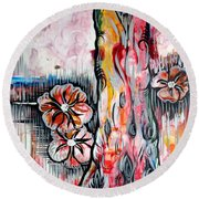 Deeply Rooted V Round Beach Towel