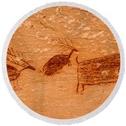Deer And Bison Pictograph - Horseshoe Canyon - Utah Round Beach Towel