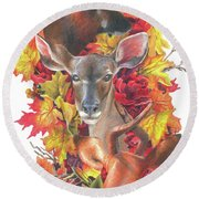 Deer And Fall Leaves Round Beach Towel