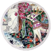 Deer And Roses Round Beach Towel