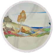 Deer And Stream Round Beach Towel
