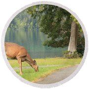 Deer By Crescent Lake Round Beach Towel