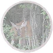 Deer By The Tree Line Round Beach Towel