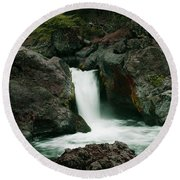Deer Creek Falls Round Beach Towel