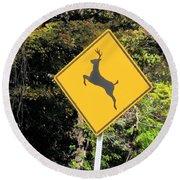 Deer Crossing Sign 2 Round Beach Towel