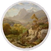 Deer In A Wide Mountain Round Beach Towel