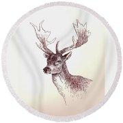Deer In Ink Round Beach Towel