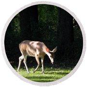 Deer In Shadows Round Beach Towel