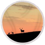 Deer In Silhouette Round Beach Towel