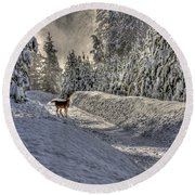 Deer In Snow Round Beach Towel