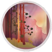 Deer In The Forest - Abstract And Colorful Mountains Round Beach Towel