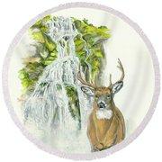 Deer In The Mist Round Beach Towel