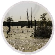 Deer Point Lake At Dusk Round Beach Towel