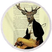 Deer Regency Portrait Round Beach Towel