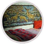 Deer Room Round Beach Towel