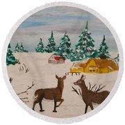 Deer Scene Round Beach Towel