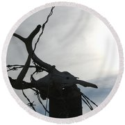 Deer Skull In Wire Round Beach Towel
