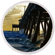 Deerfield Beach Pier At Sunrise Round Beach Towel