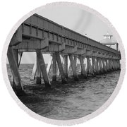 Deerfield Beach Pier Round Beach Towel