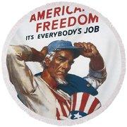 Defend American Freedom Round Beach Towel
