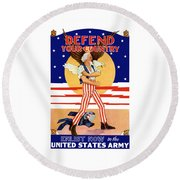 Defend Your Country Enlist Now  Round Beach Towel