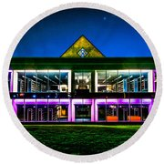 Defiance College Library Night View Round Beach Towel