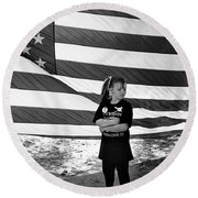 Defiant Girl Desert Storm Troops Welcome Home Celebration Ft. Lowell Tucson Arizona 1991 Round Beach Towel