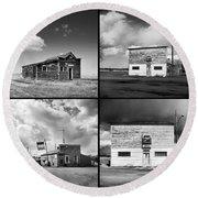Defunct Country Taverns On North Dakota Prairie Composite Square Round Beach Towel