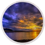 Deganwy Sunset Round Beach Towel by Adrian Evans