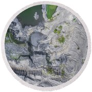 Degraded Landscape Old Coal Mine In South Of Poland. Round Beach Towel