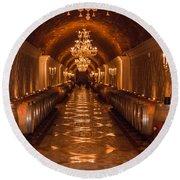 Del Dotto Wine Cellar Round Beach Towel by Scott Campbell