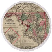 Delaware And Maryland Round Beach Towel