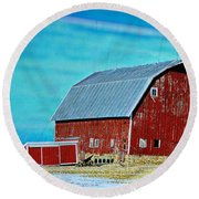 Delaware Barn 2 Round Beach Towel