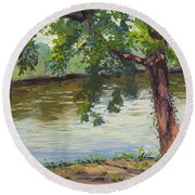 Delaware River At Washington's Crossing Round Beach Towel