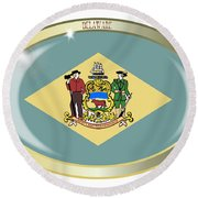 Delaware State Flag Oval Button Round Beach Towel