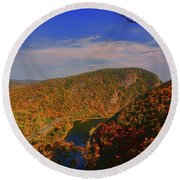 Delaware Water Gap In The Fall Round Beach Towel