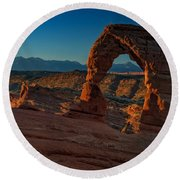 Delicate Arch At Sunrise Round Beach Towel