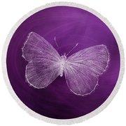 Delicate Butterflies Purple Round Beach Towel