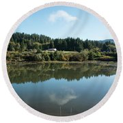 Delicate Clouds Reflected Round Beach Towel